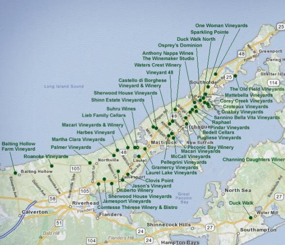 Long Island Wine Map