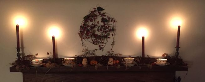 Era specific mantle piece decorated for the season