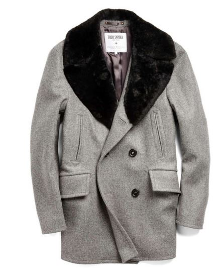 Todd Snyder: WOOL PEACOAT IN GREY HEATHER $825