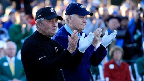 Masters champion Gary Player of South Africa and Masters champion Jack Nicklaus clap on the No. 1 tee in honor of Masters champion Arnold Palmer during Round 1 of the Masters at Augusta National Golf Club, Thursday, April 6, 2017.